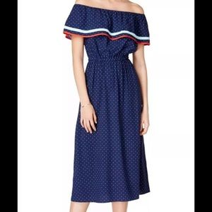 MAISON JULES  Navy Polka Dot Off Shoulder Dress L